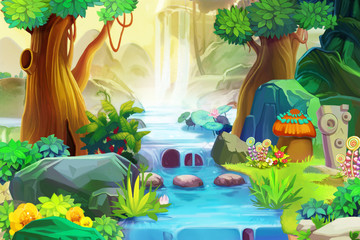 Plakat Creative Illustration and Innovative Art: Going Upstream. Realistic Fantastic Cartoon Style Artwork Scene, Wallpaper, Story Background, Card Design