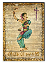 The Old Tarot Card. Queen Of Wands
