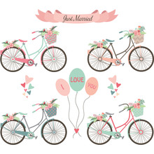 Wedding Bicycles,Flowers,Banner,Elements.