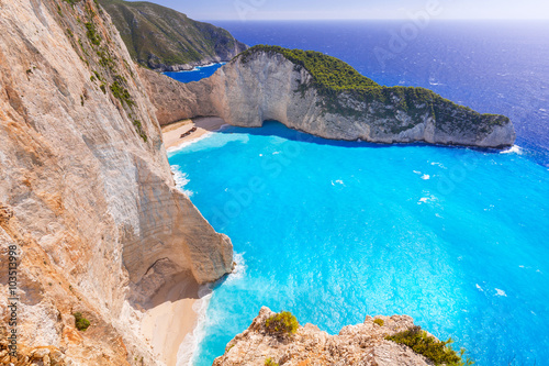 Poster Tropical beach Beautiful Navagio Beach (Shipwreck beach) on Zakynthos Island, Greece