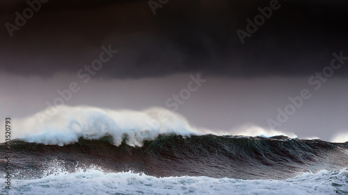 Stickers pour porte Eau storm in the sea with big waves