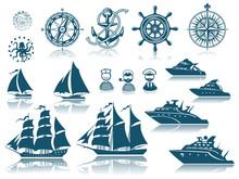 Compass And Sailing Ships Icon Set