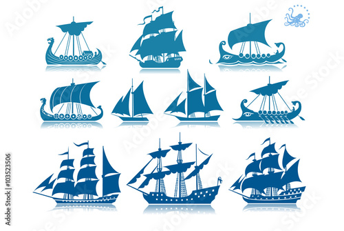Deurstickers Schip Ships of the past iconset