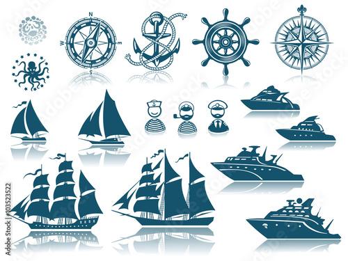 Fotografia  Compass and Sailing ships icon set