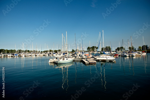 Photo  Yacht harbor and blue sky
