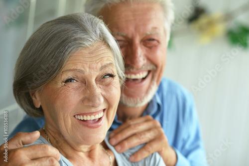 Leinwand Poster Happy senior couple