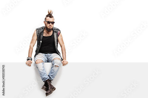 Photo  Young punk rocker with a Mohawk hairstyle