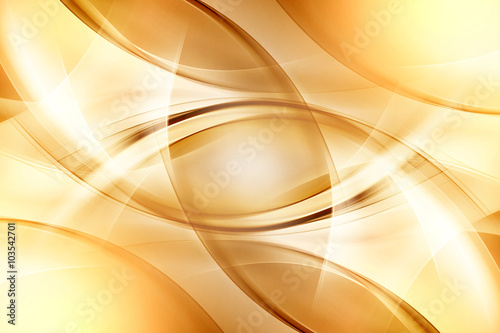 Fotobehang Fractal waves Amazing Gold Abstract Design