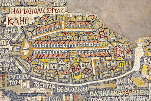 Foto auf Leinwand Mittlerer Osten Jordan. Madaba (biblical Medeba) - St. George's Church. Fragment of the oldest floor mosaic map of the Holy Land - the Holy City Jerusalem