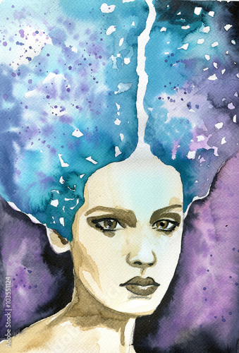 Photo Stands Painterly Inspiration Abstract watercolor illustration depicting a portrait of a woman
