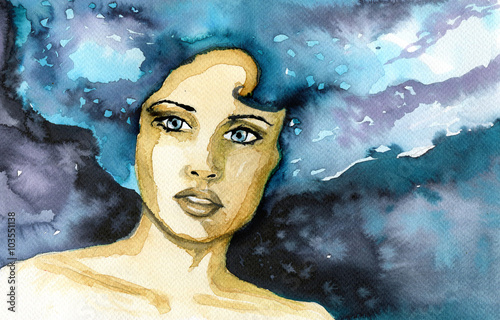Canvas Prints Painterly Inspiration Abstract watercolor illustration depicting a portrait of a woman