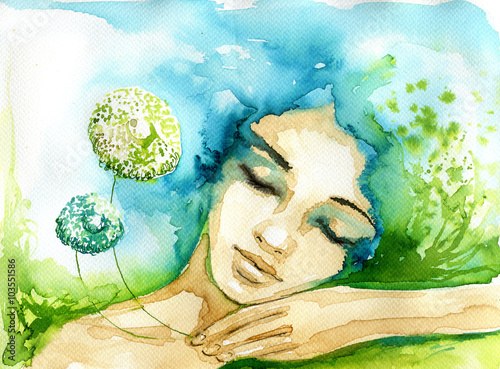Poster Inspiration painterly Abstract watercolor illustration depicting a portrait of a woman