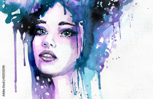 Papiers peints Inspiration painterly Abstract watercolor illustration depicting a portrait of a woman