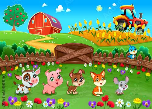 Poster Chambre d enfant Funny landscape with farm animals