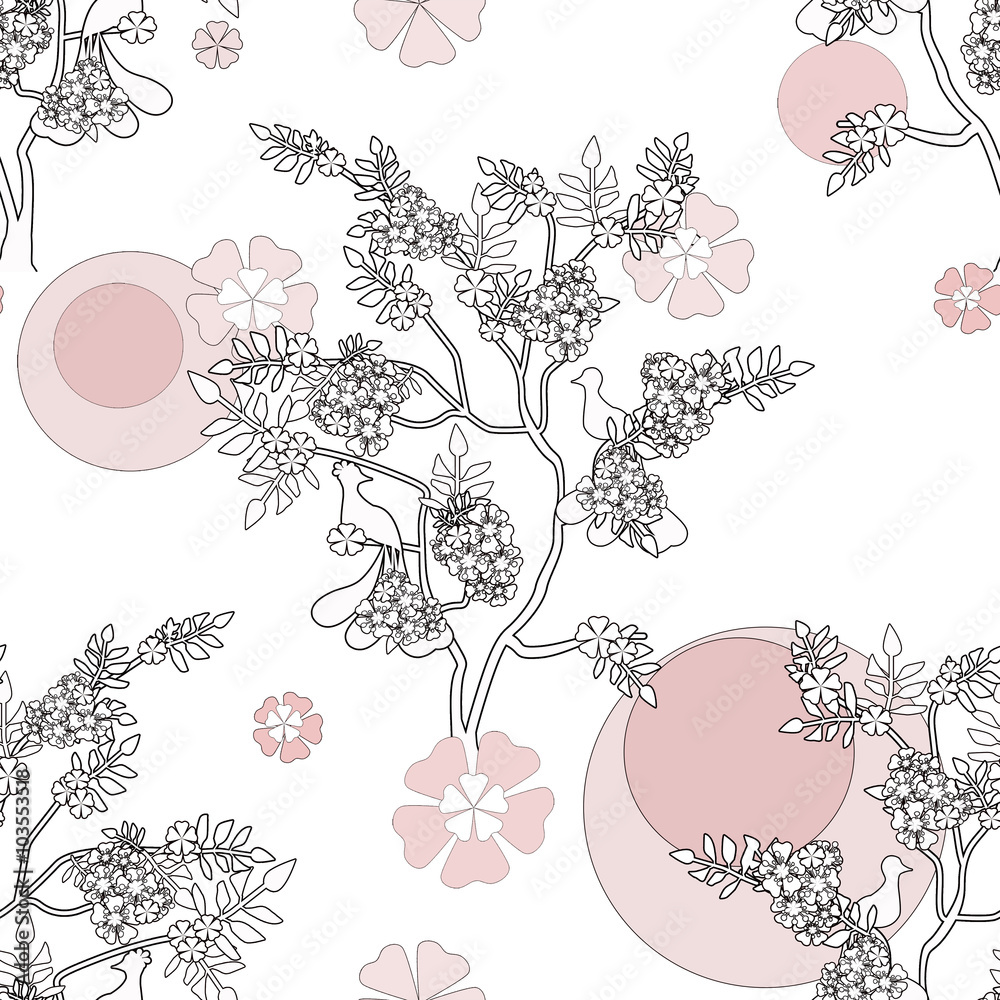 Chinese tree with birds seamless pattern background