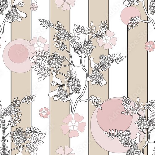 chinski-drzewo-z-ptaka-bezszwowym-deseniowym-tlem