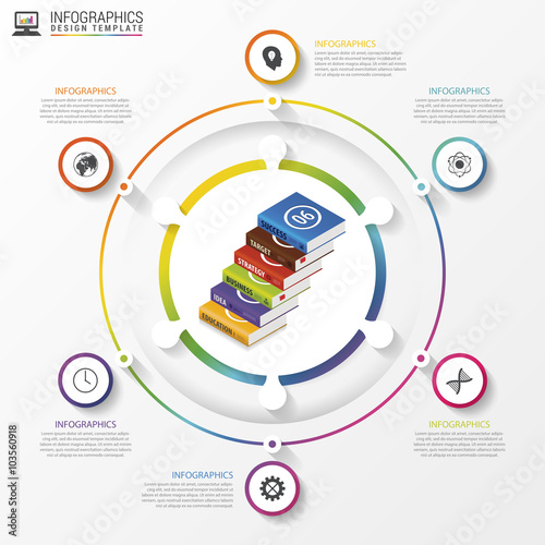 Photo  Infographic. Modern design template with books. Vector