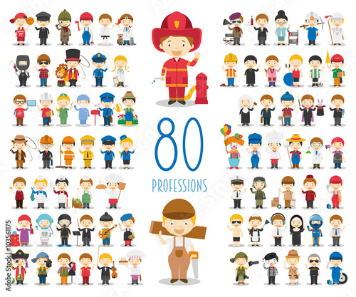 Fotografia  Kids Vector Characters Collection: Set of 80 different professions in cartoon style