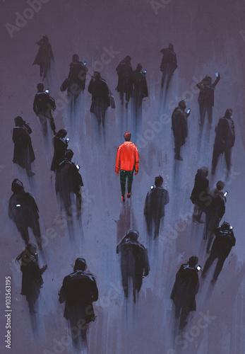 jeden czerwony mężczyzna stojący z innymi ludźmi z telefonem, wyjątkowa osoba w tłumie, ilustracja