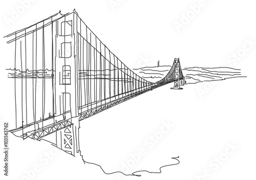 Foto  Hand drawn Golden Gate, San Francisco. Vector Scribble