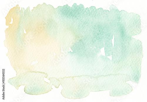 Zdjęcie XXL lekkie tony wyblakłe żółte zielone tło akwarela