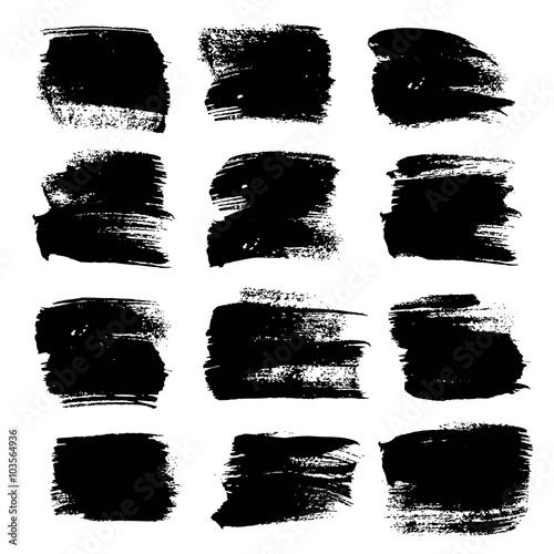 Tuinposter Vormen Big black strokes set isolated on a white background