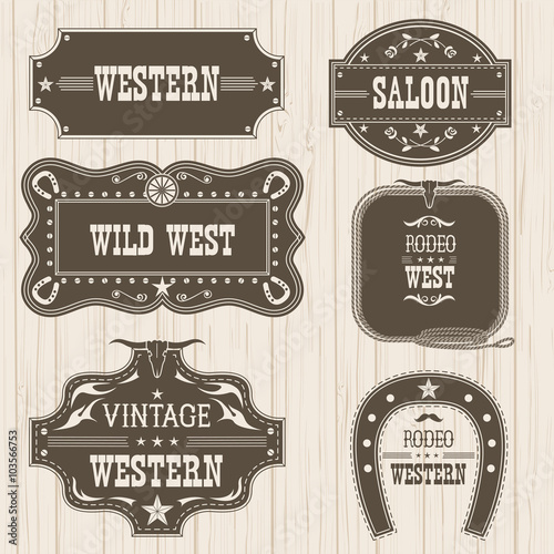 Western vintage labels isolated for design.Vector frames Poster