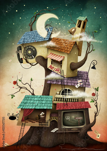 Conceptual illustration with colorful  houses on the tree.