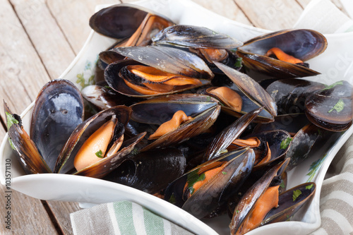 Steamed Mussels Canvas Print