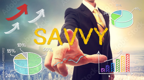 Photo Savvy concept with businessman