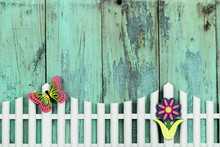 Flower And Butterfly On White Picket Fence