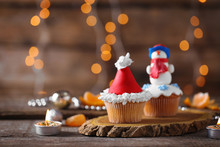 Christmas Cupcakes On Wooden Stand