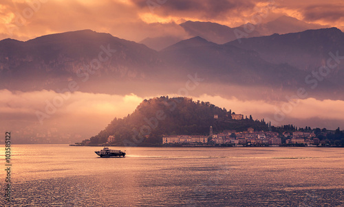 High resolution view of the picturesque colorful Italian town Bellagio by Lake Como Fototapeta