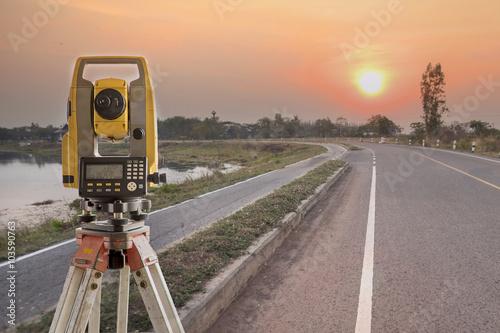 Fotografie, Obraz  Surveyor equipment tacheometer or theodolite outdoors at constru