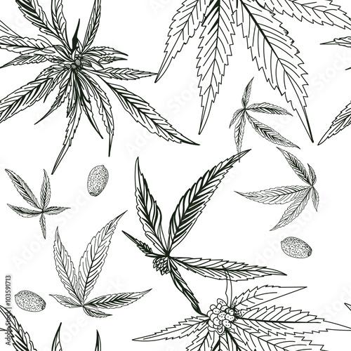 Tapety Kwiaty szwu-konopi-marihuany-czarny