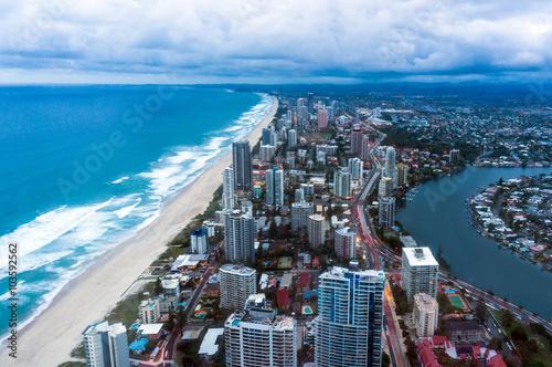 Valokuva  Gold Coast Surfers Paradise town at dusk