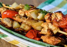 Lunch Grilled Chicken And Vegetable Skewers.