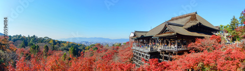 Poster Japan Kyoto, Japan - December 8, 2015: Panorama of Kiyomizu-dera template