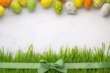 Easter Eggs And Fresh Grass