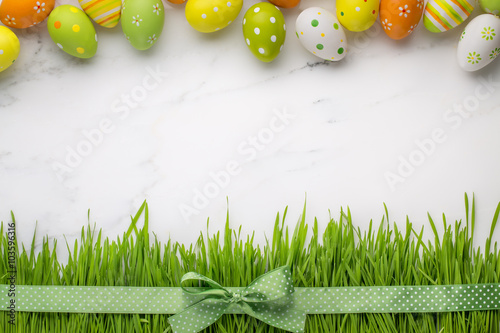 Photo  Easter eggs and fresh grass