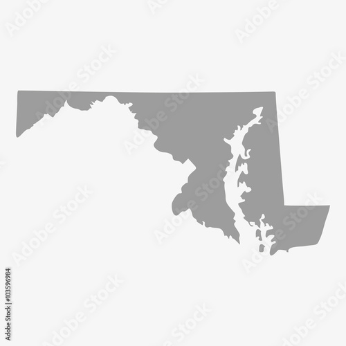 Map of Maryland State in gray on a white background Wall mural