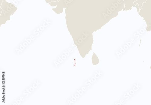 Asia with highlighted Maldives map. - Buy this stock vector and ...