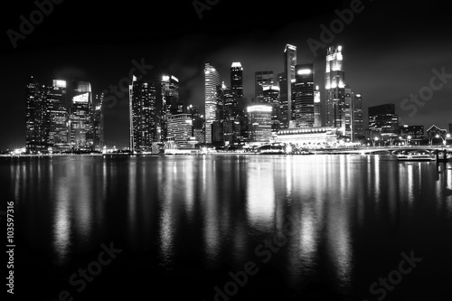 Poster New York Night views of Singapore, Marina Bay panorama, black and white photo.