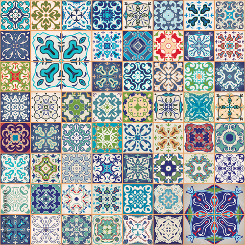 Printed kitchen splashbacks Moroccan Tiles Mega Gorgeous seamless patchwork pattern from colorful Moroccan, Portuguese tiles, Azulejo, ornaments.. Can be used for wallpaper, pattern fills, web page background,surface textures.