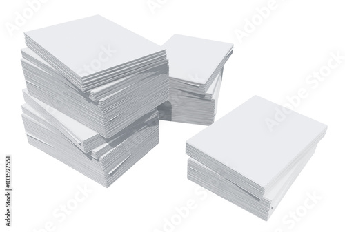 Fotografija A stack of white paper. Isolated render on a white background
