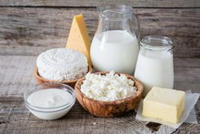 Selection Of Dairy Products On...