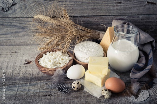 Recess Fitting Dairy products Selection of dairy products on rustic wood bacground