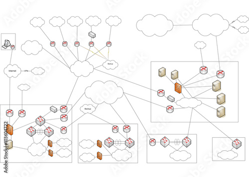 Netzwerk VLAN WLAN Diagramm Illustration – kaufen Sie diese ...