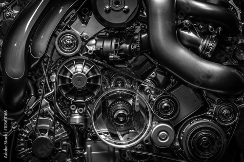 Fotografie, Tablou  Engine. Close-up. Black and white.