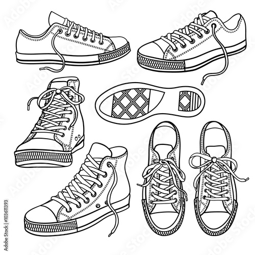 Fotografía  set with sneakers isolated on white